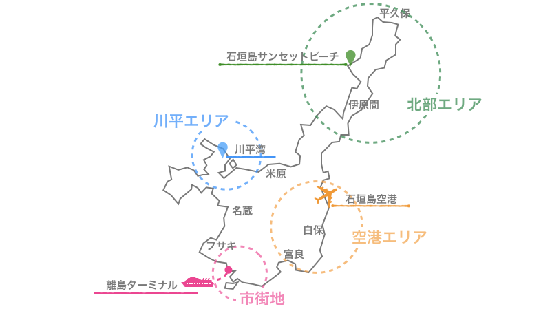 石垣島,ホテル,エリア,地図